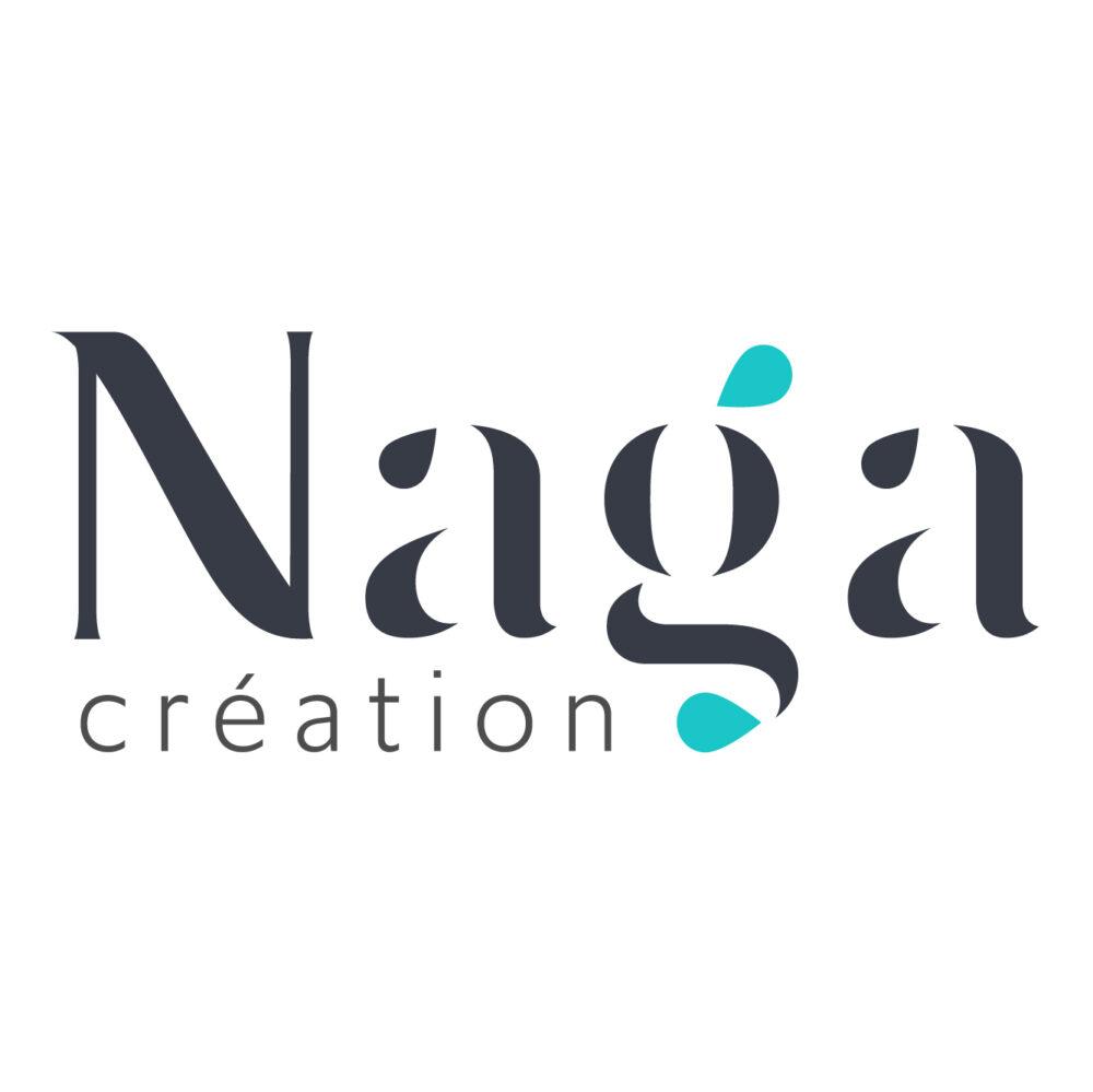 Logo Naga Création noir et vert azur